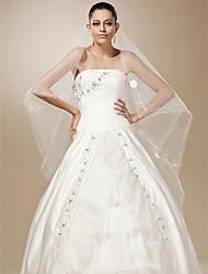 de un nivel de corte de tul borde vals boda velo con diseño de flores