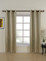 (Dos paneles OJAL superior) habitación amarillento cortina sólida en relieve oscurecimiento