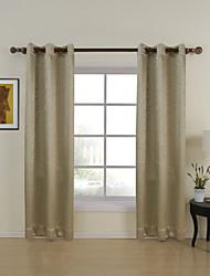 Dos Paneles Moderna Sólido Beige Dormitorio Poliéster Panel Cortinas cortinas