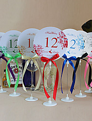 Place Cards and Holders Romantic Round Shape Table Number Cards With Holders - Set Of 10(More Colors)