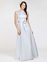 Lanting Floor-length Satin Bridesmaid Dress - Silver Plus Sizes / Petite A-line / Princess Bateau