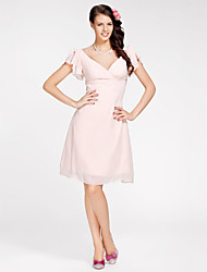 Homecoming Knee-length Chiffon Bridesmaid Dress - Pearl Pink Plus Sizes A-line/Princess V-neck