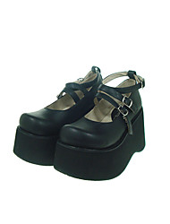 Lolita Shoes Gothic Lolita Lolita Platform Shoes Solid 10 CM Black For Women PU Leather/Polyurethane Leather