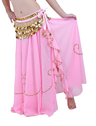 Belly Dance Skirts Women's Performance Chiffon Beading 1 Piece Blue / Fuchsia / Pink / Purple / Red / White Belly Dance / Performance