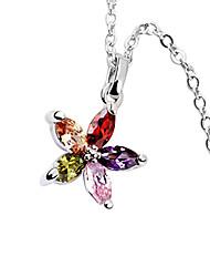 lega e cristallo a cinque punte forma di collana stella platinato