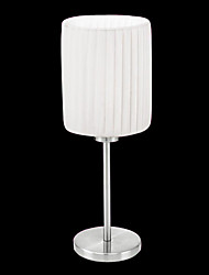 60W 1- Light Stylish Table Light with White Fabric Shade