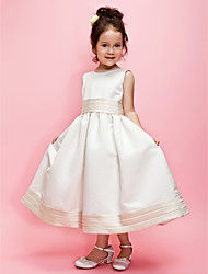A-line/Ball Gown Tea-length Flower Girl Dress - Satin Sleeveless