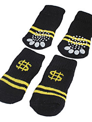 Dog Socks Casual/Daily Keep Warm Winter Spring/Fall Stripe Black Cotton