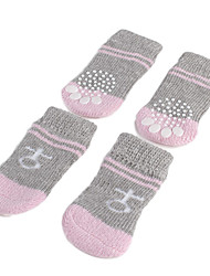 Dog Socks Casual/Daily Keep Warm Winter Spring/Fall Stripe Gray Cotton