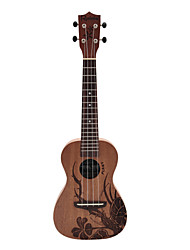 Rainie - (CP-01) High-Grand Solid Mahogany Concert Ukulele with Gig Bag/Tuner (Plant Tatoo)