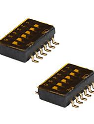 SMD типа сделай сам 6-позиции 12-контактный DIP-переключателя (5-части пакета)