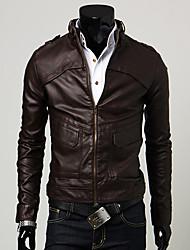 Men's Long Sleeve Casual Jacket,PU Black / Brown