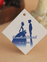 Personalized Rhombus Favor Tag - Blue Romance (Set of 30)