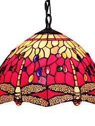 60W 1 - Light Tiffany Glass Pendent Light with Dragonfly Pattern