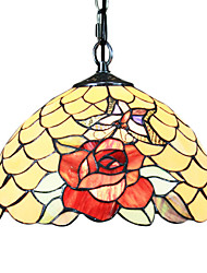 60W Tiffany Pendent Light with 1 Light in Red Rose Pattern