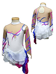 Colored Ribbon Pattern Hierarchy Skirts Ice Skating Dress