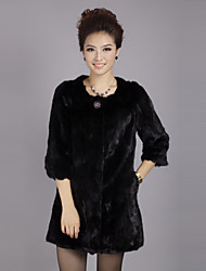3/4 Sleeve Kragenlose Evening Mink Fur Coat