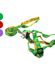 Dog Harness / Leash Footprint/Paw Red / Green / Purple Genuine Leather