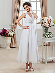 Lanting A-line/Princess Plus Sizes Wedding Dress - White Ankle-length V-neck Chiffon