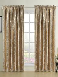(Two Panels) Gold Printing Fancy Flower Room Darkening Curtain