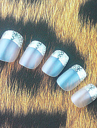 Full Cover Silvery Plastic Acrylic Nails Tips