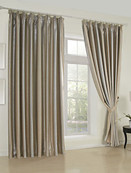 TWOPAGES® (Two Panels) Beige Verticall Stripe Room Darkening Thermal Curtain