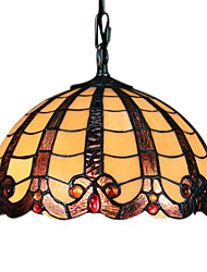40W Tiffany Pendent Light with Brown Fringe
