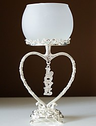 Wedding Décor Silver Plated Dangling Crystal Love Candle Holder