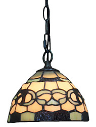 1 Light Tiffany Pendant Light with Glass Shade
