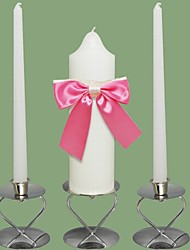 Sweet Bow Wedding Unity Candles Set-White (Candle Holders Not Included)