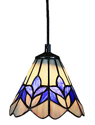 25W Glass Tiffany Pendant Light in Purple Flower Pattern