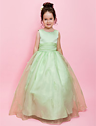 A-Line Ball Gown Floor Length Flower Girl Dress - Satin Sleeveless Jewel Neck by LAN TING BRIDE®