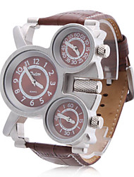 Men's Military Style Three Time Zones Brown PU Band Quartz Wrist Watch Cool Watch Unique Watch