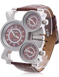 Мужской Армейские часы С тремя часовыми поясами Кварцевый PU Группа Коричневый