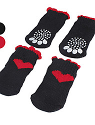 Dog Socks Casual/Daily Keep Warm Winter Spring/Fall Hearts Red Black Cotton