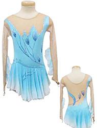 Lotus Flower Pattern Silver Edge Long-Sleeve Ice Skating Dress