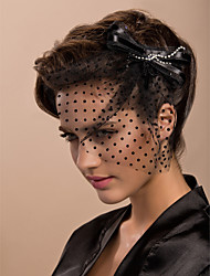 Wedding Veil One-tier Blusher Veils / Birdcage Veils Cut Edge Tulle Black