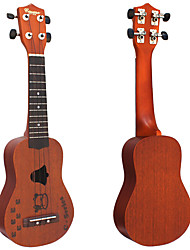 Casme - (C) Bell Soundhole Cute Cow Tattoo Sapelle Soprano Ukulele with Bag/Strap/String/Picks