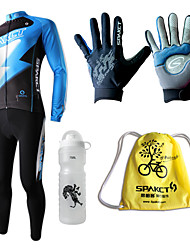 SPAKCT- Extra Value Autumn Cycling Sets with Jersey Suits,Sports Bottle,Gloves and Potable Pack (Flashlight Design)