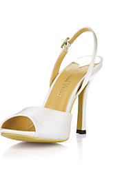 Women's Shoes Silk Spring / Summer / Fall Peep Toe Wedding / Office & Career / Dress Stiletto Heel Buckle Ivory