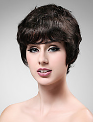 Capless Short Wave Brown 100% Human Hair Wig