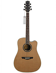 "Hawks 41"" Advanced Cutaway Solid Red Cedar Top Wood Rosette Maple Binding D'Addario String Acoustic guitar"