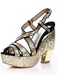 Unique Sparkling Glitter Chunky Heel Sandals /Platform With Sparkling Glitter Party/Evening Shoes
