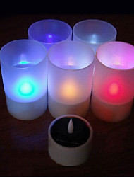 Solar Powered LED Rechargeable Color Changing Flameless Candle Lamp