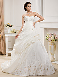 Ball Gown Plus Sizes Wedding Dress - Ivory Court Train Sweetheart Taffeta