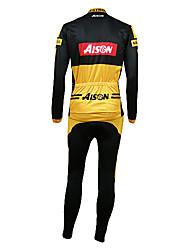 Kooplus Cycling Jersey with Bib Tights Men's Long Sleeves Bike Bib Shorts Clothing Suits Thermal / Warm Fleece Lining Ultraviolet