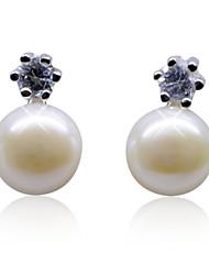 Charme Sterling Silver Boucles d'oreilles perles fraîches avec Crystal (plus de couleurs)