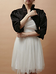 Wedding  Wraps Coats/Jackets 3/4-Length Sleeve Satin Black Party/Evening Bell Sleeves Open Front