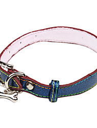 Dog Collar Green / Blue PU Leather