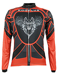 Kooplus Men's Long Sleeve Bike Jersey Tops Thermal / Warm Quick Dry Front Zipper Wearable Breathable 100% Polyester Fall/Autumn